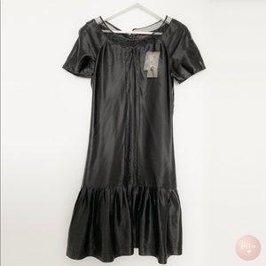 Reiss Black Satin Style 1920s Dress